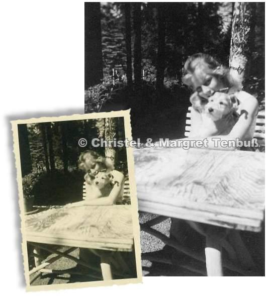 Die 13-jährige Heidi Brühl mit ihrem Hund im Sommer 1955
